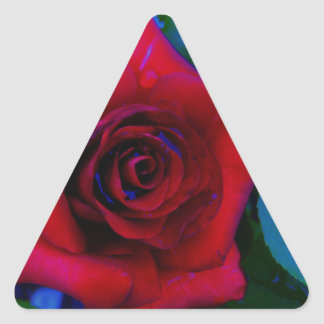 Red Roses with blue tones Triangle Sticker