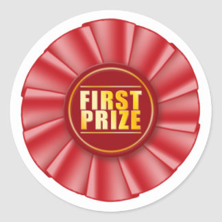 red rosette first prize sticker