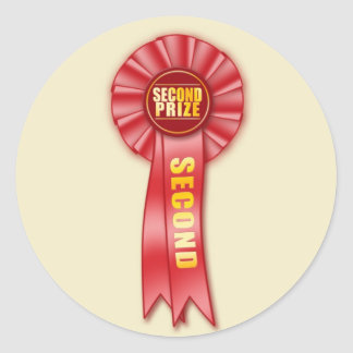 red rosette second prize sticker