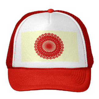 Red Round Lace Pattern Graphic. Cap