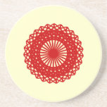 Red Round Lace Pattern Graphic. Drink Coasters