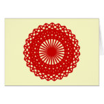 Red Round Lace Pattern Graphic. Greeting Cards
