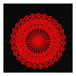 Red Round Lace Pattern Graphic. Invitations