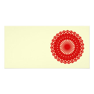 Red Round Lace Pattern Graphic Photo Cards