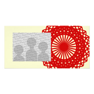 Red Round Lace Pattern Graphic. Photo Card Template
