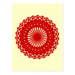 Red Round Lace Pattern Graphic. Postcard