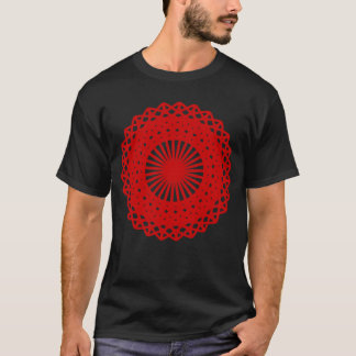 Red Round Lace Pattern Graphic. T-Shirt