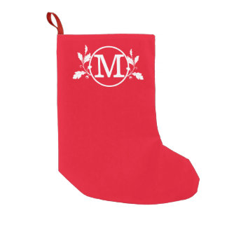Red Round Oak NF Monogrammed Small Christmas Stocking