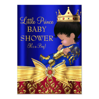 Red & Royal Blue Prince Boy Baby Shower Invitation