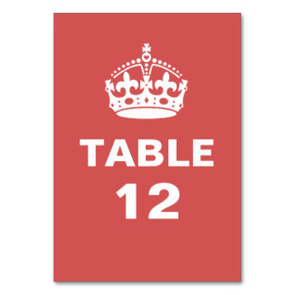 Red  Royal Crown Table Number