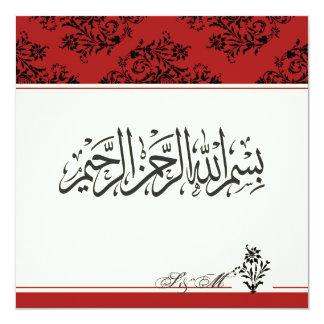 Red royal Islamic nikkah wedding engagement Muslim Card