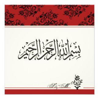 Red royal Islamic nikkah wedding engagement Muslim Custom Invites