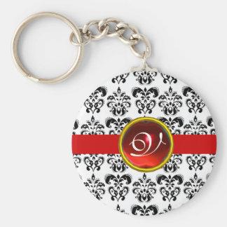 RED RUBY DAMASK MONOGRAM, BASIC ROUND BUTTON KEY RING