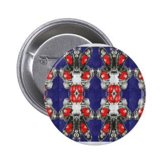 Red Ruby Imitation Jewel Pattern KIDS Girls HAPPY 6 Cm Round Badge