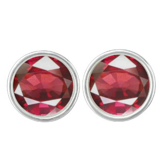 Red Ruby Stone Design Cufflinks