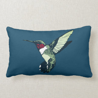 red ruby throated hummingbird throw pillow blue