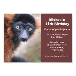 Red Ruffed Lemur Birthday Party Invitation