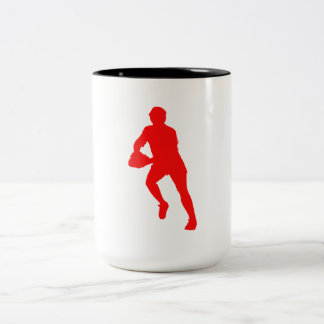 Red Rugby Player Silhouette Mugs