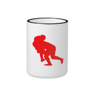 Red Rugby Tackle Mug