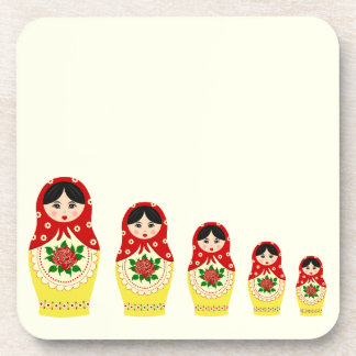 Red russian matryoshka nesting dolls coaster