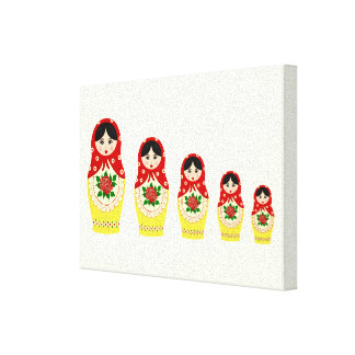 Red russian matryoshka nesting dolls gallery wrapped canvas
