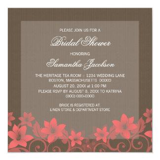 """Red Rustic Floral Bridal Shower Invite 5.25"""" Square Invitation Card"""