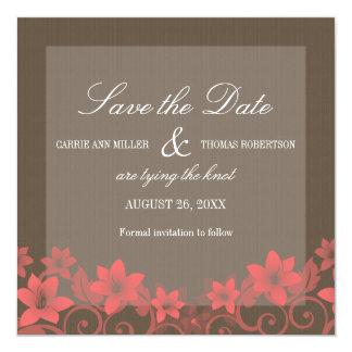 "Red Rustic Floral Save the Date Invite 5.25"" Square Invitation Card"