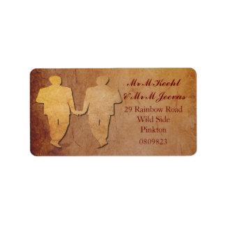 Red Rustic Gay Wedding Address Labels