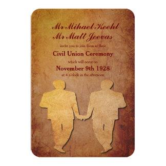 "Red Rustic Gay Wedding Invitation 3.5"" X 5"" Invitation Card"