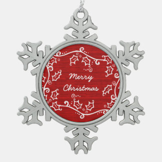 Red Rustic Holly Snowflake Ornament
