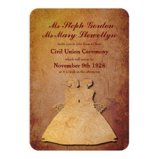 "Red Rustic Lesbian Wedding Invitation 3.5"" X 5"" Invitation Card"