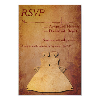 Red Rustic Lesbian Wedding RSVP Announcements