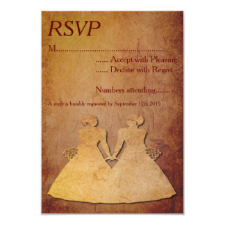 Red Rustic Lesbian Wedding RSVP 3.5x5 Paper Invitation Card