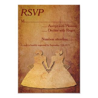 "Red Rustic Lesbian Wedding RSVP 3.5"" X 5"" Invitation Card"