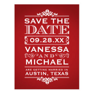 Red Rustic Modern Vintage Save the Date Postcards