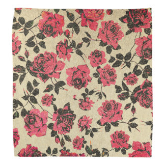Red Rustic Roses on Faux Gold Bandana