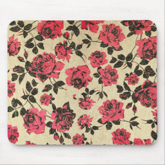 Red Rustic Roses on Faux Gold Mouse Mat