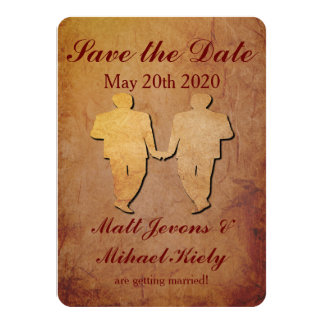 Red Rustic Save the Date Card Gay Wedding 11 Cm X 16 Cm Invitation Card