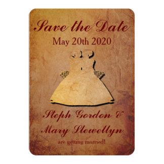Red Rustic Save the Date Card Lesbian Wedding 11 Cm X 16 Cm Invitation Card