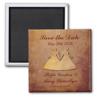 Red Rustic Save the Date Magnet Lesbian Wedding