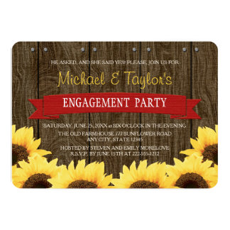 RED RUSTIC SUNFLOWER ENGAGEMENT PARTY PERSONALIZED INVITES