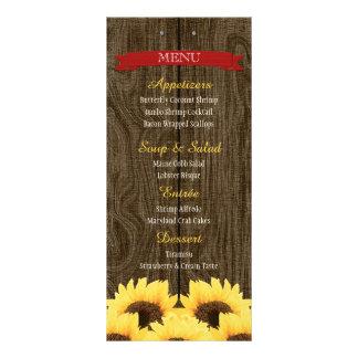 RED RUSTIC SUNFLOWER MENU CARD