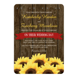 RED RUSTIC SUNFLOWER WEDDING INVITATION