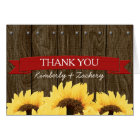 RED RUSTIC SUNFLOWER WEDDING THANK YOU CARD