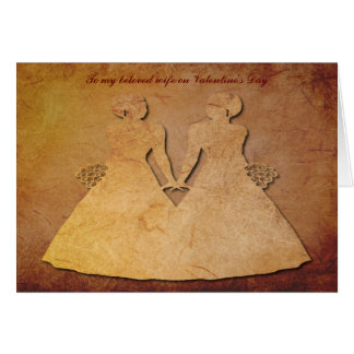Red Rustic Vintage Texture Lesbian Wife Valentine Card