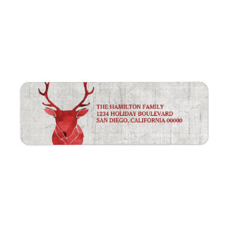 Red Rustic Watercolor Deer Holiday Return Address Label