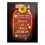 Red Rustic Whimsical Mason Jar Save the Date Postcard