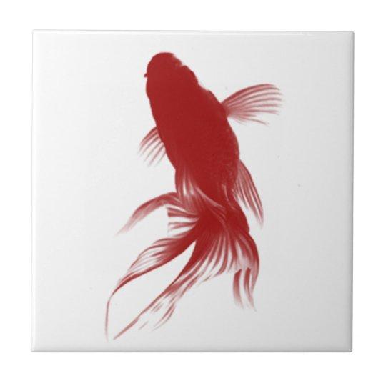 Red Ryukin Goldfish Small Square Tile