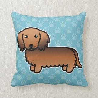 Red Sable Long Coat Dachshund Cartoon Dog Cushion
