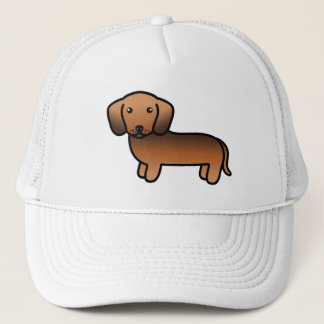 Red Sable Smooth Coat Dachshund Cartoon Dog Trucker Hat